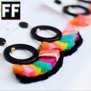 Rainbow Tassel Earrings 🌈💓